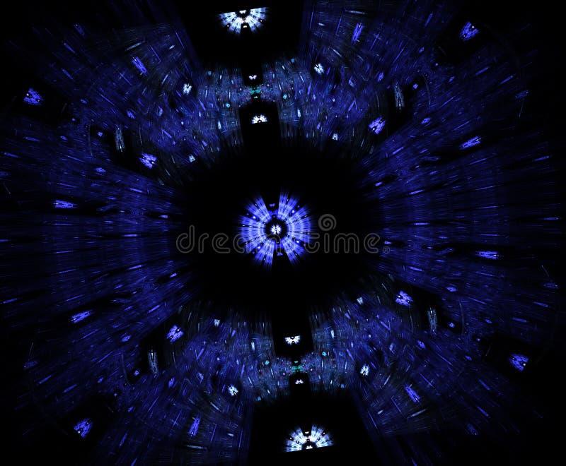 Glödande stargate i utrymme, dator frambragte abstrakt bakgrund Galaktiskt snöra åt fractalen royaltyfri illustrationer