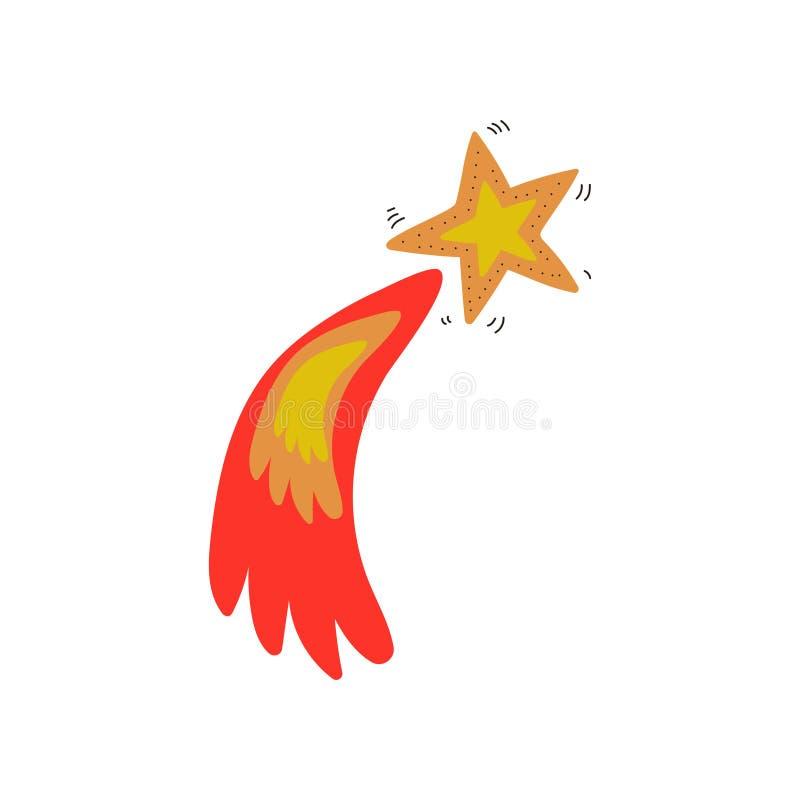 Glödande stjärna, utrymme, illustration för vektor för tecknad film för beståndsdel för kosmostemadesign stock illustrationer