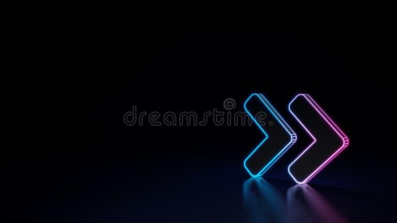 glödande symbol för neon 3d av symbolet av den dubbla rätten för vinkel som isoleras på svart bakgrund stock illustrationer