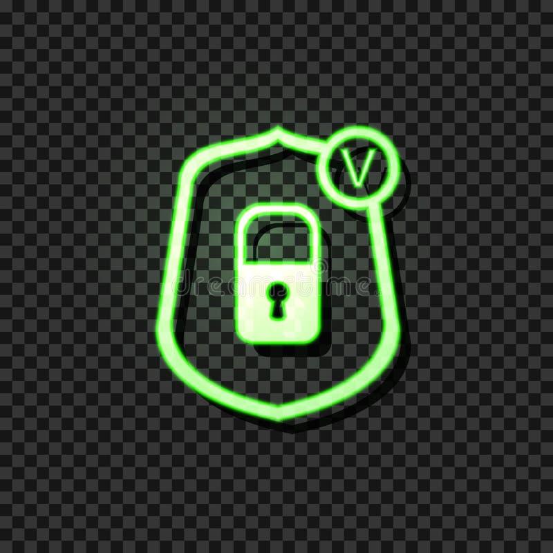 Glödande symbol för vektor: Pålitligt skyddsbegrepp, låssymbol i sköld med kontrollfläcken, grönt tecken för neon på mörk bakgrun stock illustrationer