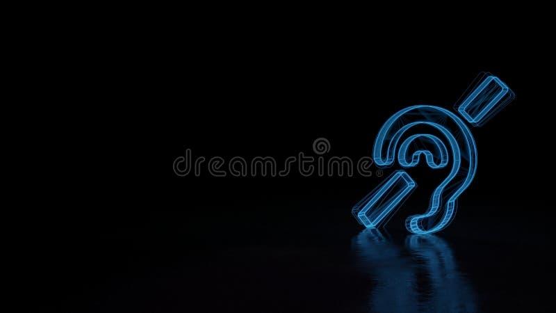 glödande symbol för wireframe 3d av symbolet av dövt som isoleras på svart bakgrund royaltyfri illustrationer