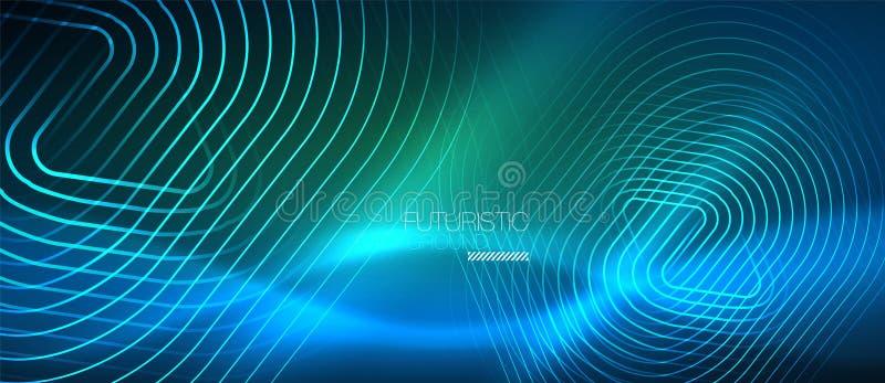 Glödande technolinjer för neon, högteknologisk futuristisk abstrakt bakgrundsmall med geometriska former royaltyfri illustrationer