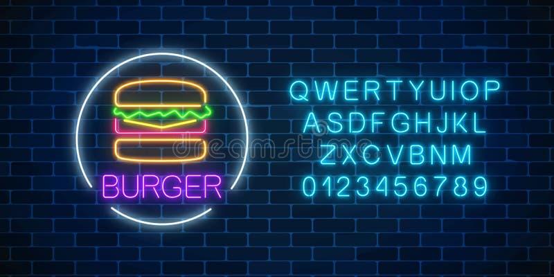 Glödande tecken för neon av hamburgaren med alfabet i cirkelram Ljust affischtavlasymbol för Fastfood Kafémenyobjekt vektor illustrationer