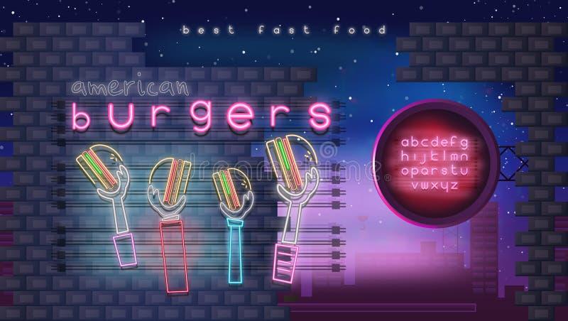 Glödande tecken för neon för hamburgare royaltyfri illustrationer