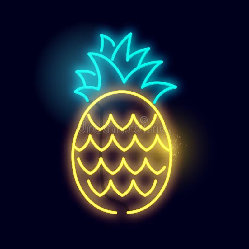 Glödande tecken för neonananasljus royaltyfri illustrationer