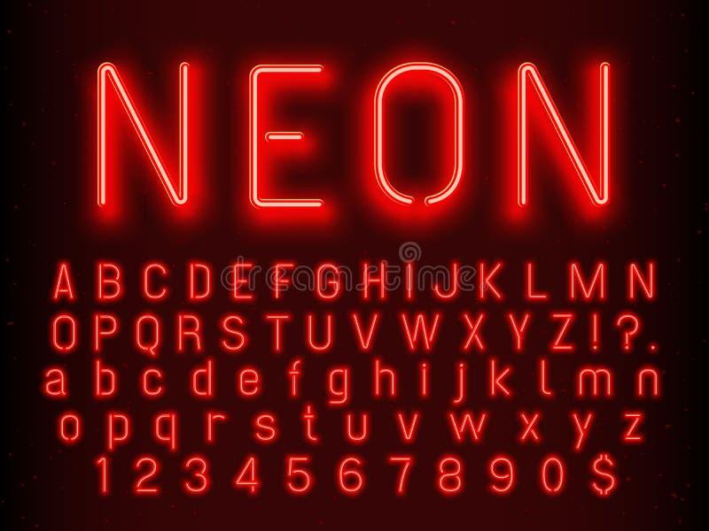 Glödande teckenbeståndsdelar för stång eller för kasino Röda neonbokstäver och nummer med lysrörvektorillustrationen royaltyfri illustrationer
