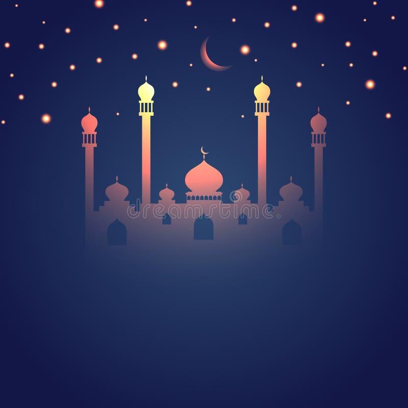 Glödande themed islamisk design för Ramadan royaltyfri illustrationer