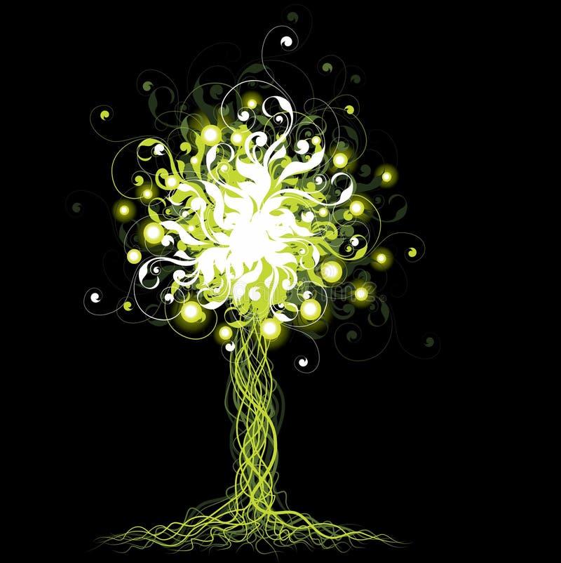 glödande tree stock illustrationer