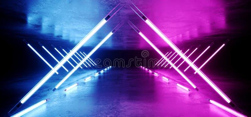 Glödande triangel formad väg för tunnel Sci Fi för neon för futuristisk modern elegant ultraviolett etapp lång med tomma purpurfä vektor illustrationer