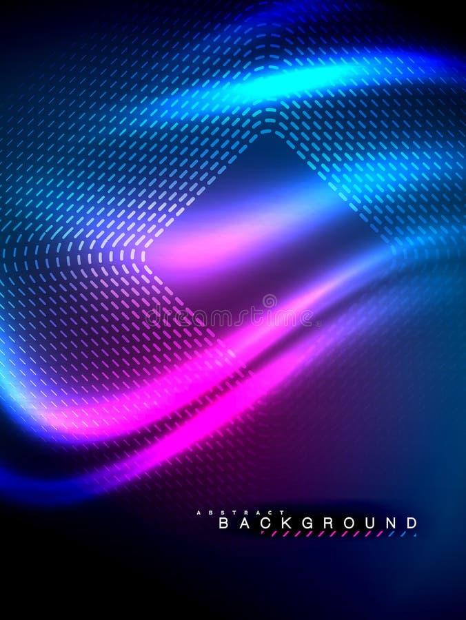 Glödande våg för neon, magisk energi och ljus rörelsebakgrund också vektor för coreldrawillustration stock illustrationer