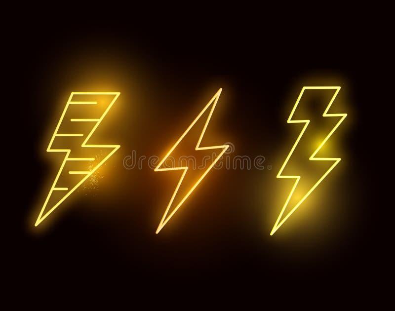 Glödande varma blixtbultar för neon royaltyfri illustrationer