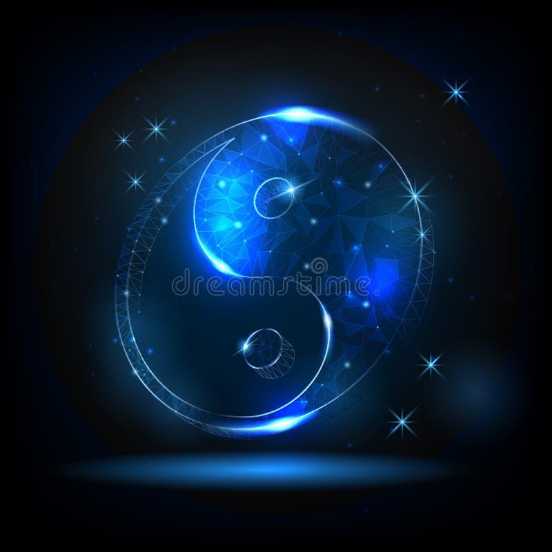 Glödande yinyang symbol på en bakgrund av stjärnor och natthimmel vektor illustrationer