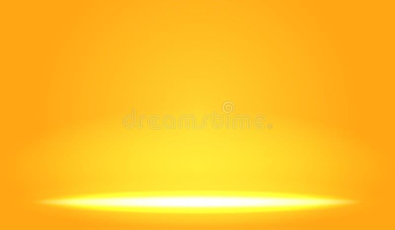 Glöder ljus effekt på orange lutning vektor illustrationer