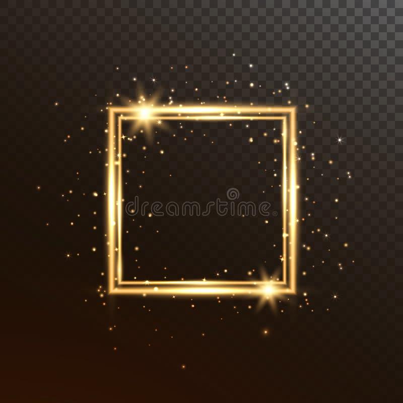 Glödfyrkantram Guld- lyxigt baner som isoleras på genomskinlig bakgrund Den ljusa ramen med blänker gnistrandet och stjärnor vektor illustrationer
