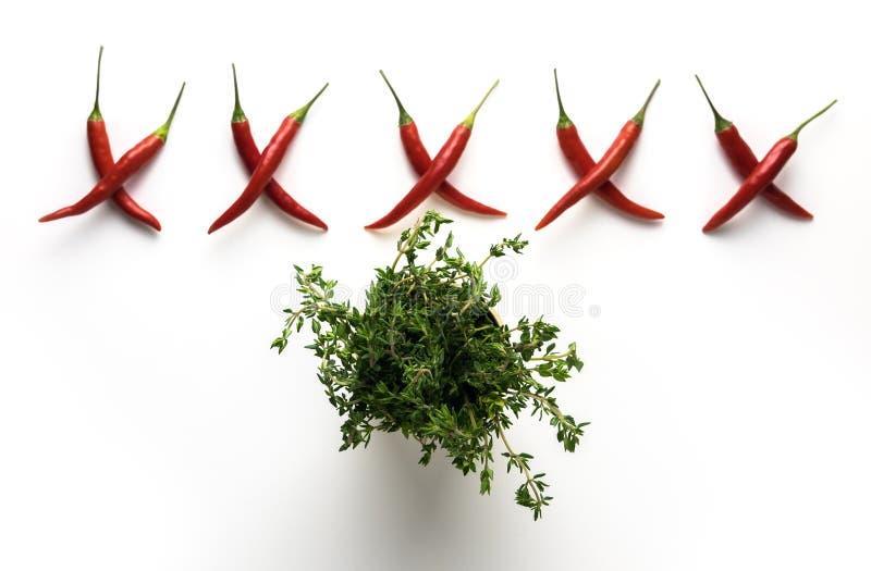 Glödhet liten modell för chilipeppar i form av bokstav X och grön timjan som isoleras på vit bakgrund Top beskådar plant royaltyfria foton