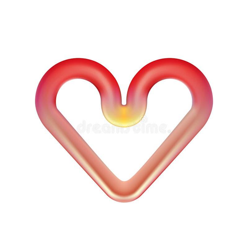 Glödhet värma beståndsdel för röd hjärta Infraröd ugnsplatta som isoleras på ljus bakgrund Abstrakt rundad designbeståndsdel för royaltyfri illustrationer