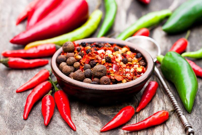 Glödheta chilipeppar och andra kryddor i en liten platta på trä royaltyfri bild