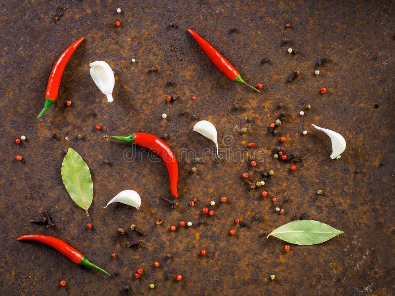 Glödheta fröskidor för chilipeppar och ärtor, lagerblad, vitlökkryddnejlika på D arkivfoton