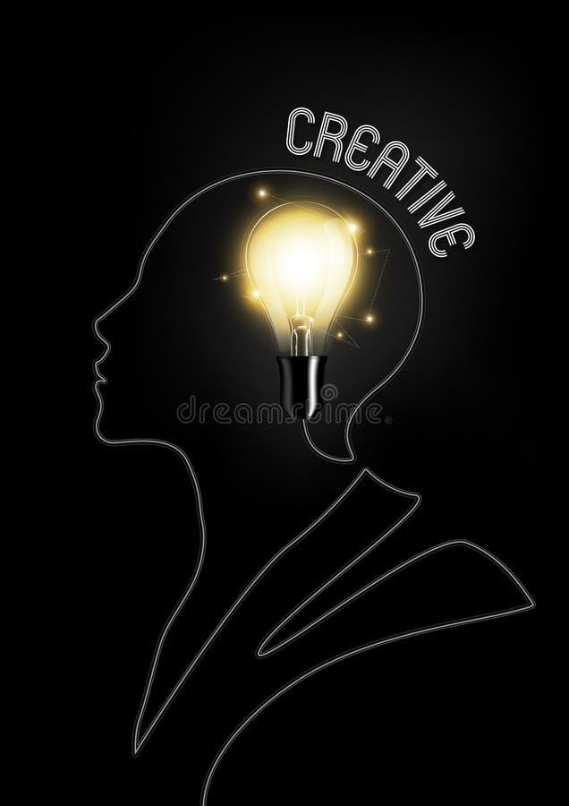 Glödidétext i ljus kula och kabel binder i formen av det mänskliga huvudet med idérikt idébegrepp som är genomskinlig, vektorillu royaltyfri illustrationer