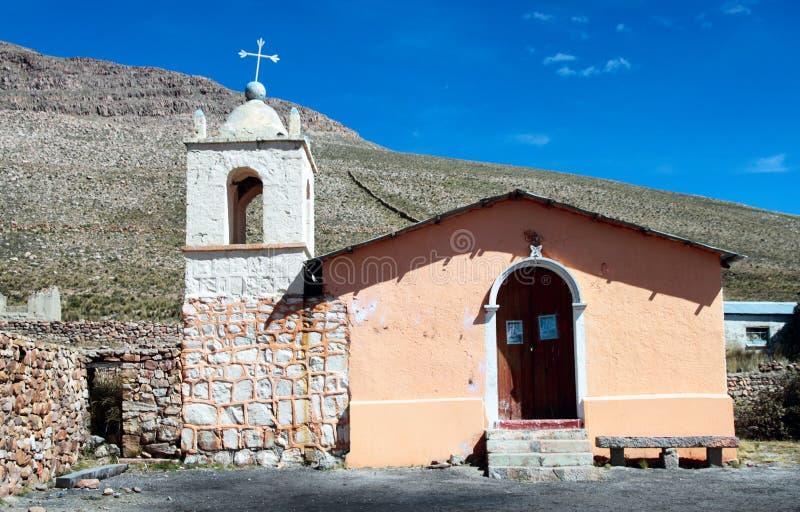 Glömd kyrka i den Sumbay byn, sydliga Peru royaltyfri foto