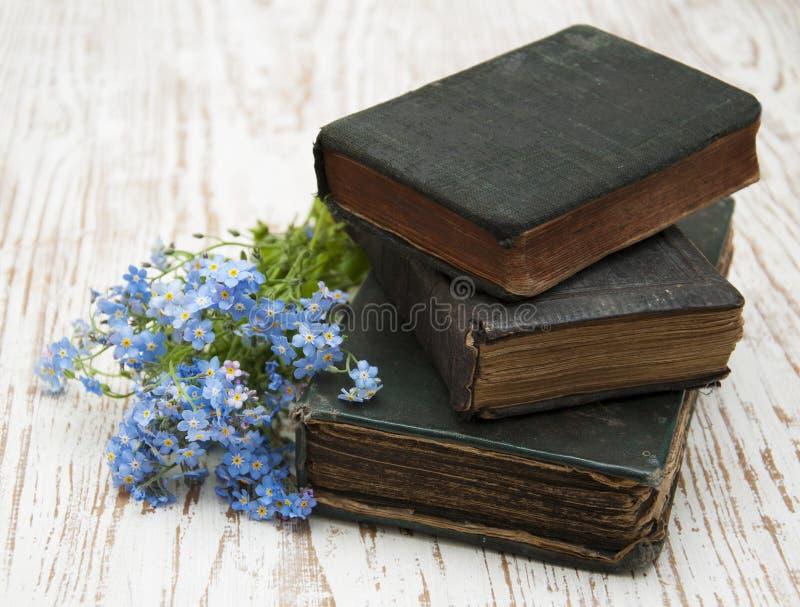 Glömma-mig-nots blommor och gamla böcker arkivfoto