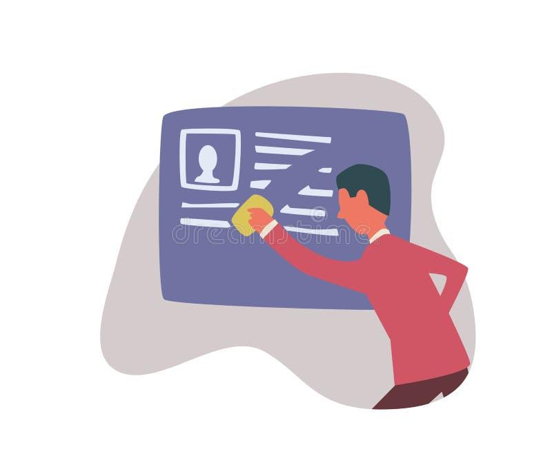 Glöms rakt till i internet En man raderar information om honom Begreppsvektorillustration som isoleras på vektor illustrationer