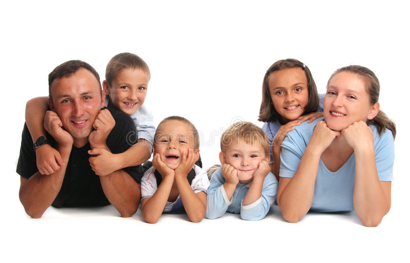 Glückfamilie, die viele Kinder hat lizenzfreie stockbilder