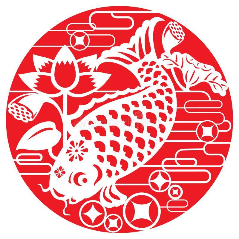 Glückfische für das Feiern des neuen Mondjahres lizenzfreie abbildung