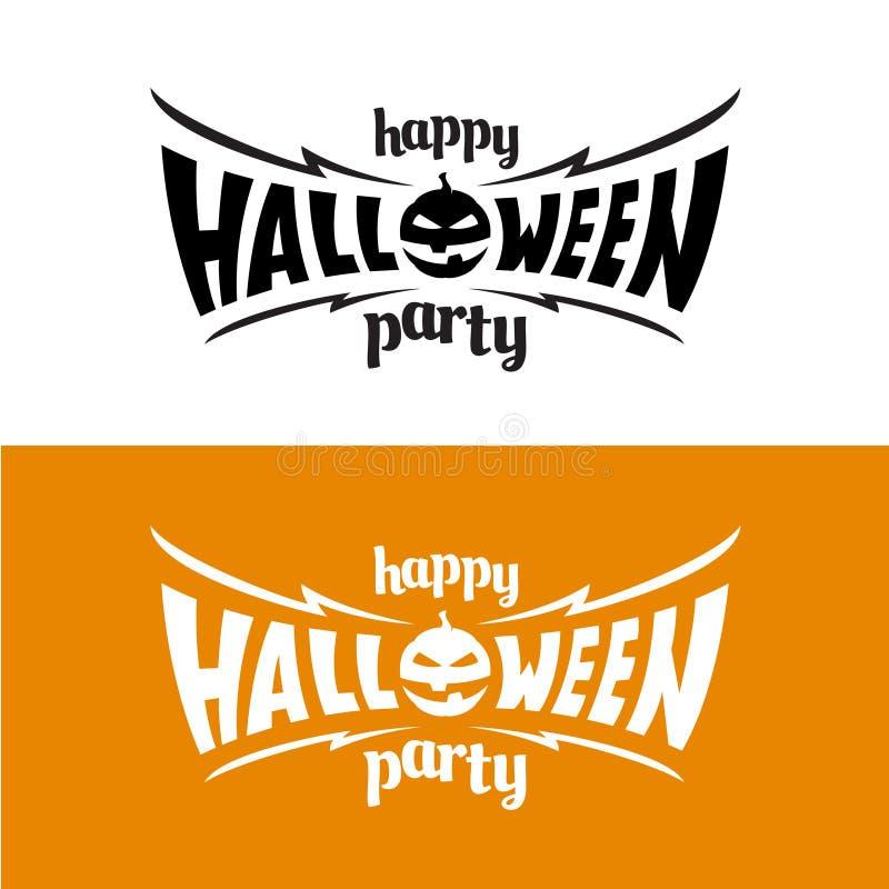 Glücklich hallowen Parteititel-Logoschablone vektor abbildung