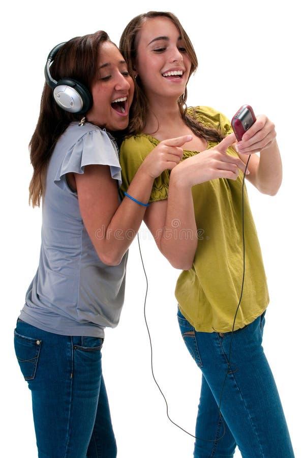 Glücklich mit MP3-Player stockfotos