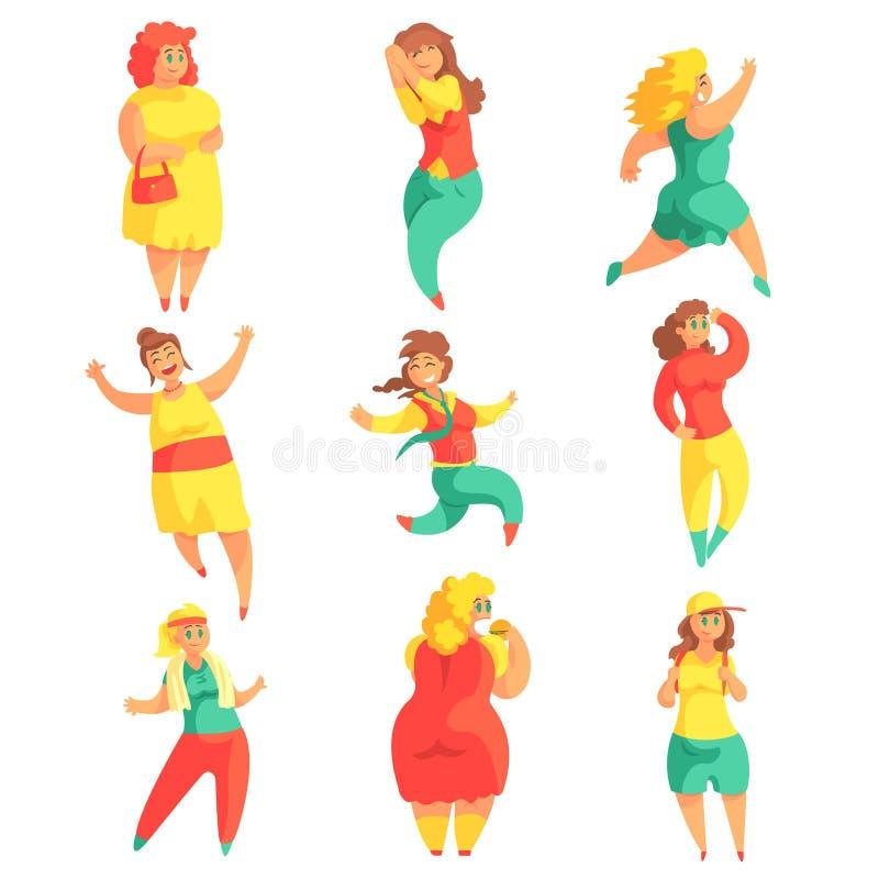 Glücklich plus die Größen-Frauen in der bunten Mode-Kleidung Leben-Satz lächelnde Overweighed-Mädchen-Zeichentrickfilm-Figuren ge lizenzfreie abbildung