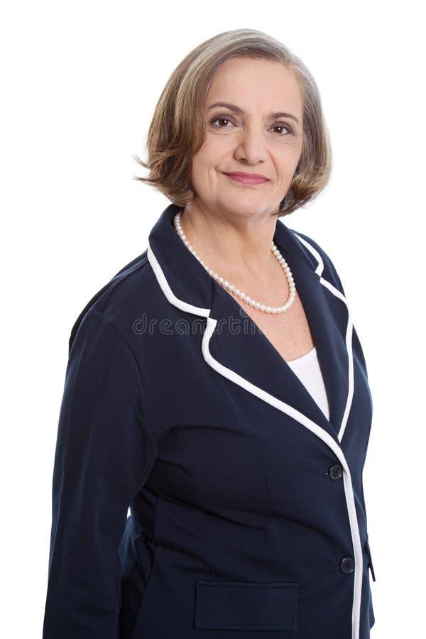Glückliche ältere Dame - ältere Frau lokalisiert auf weißem Hintergrund lizenzfreies stockfoto