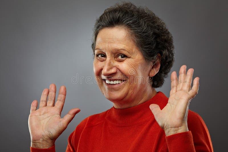 Glückliche ältere Frau lizenzfreies stockfoto