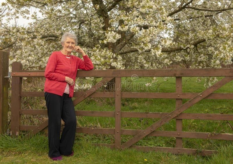 Glückliche ältere Frau, die draußen auf einem Zaun stillsteht lizenzfreie stockbilder
