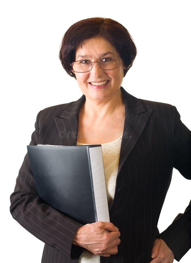 Glückliche ältere Frau, getrennt lizenzfreies stockfoto