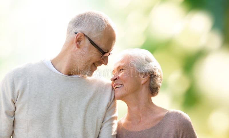 Glückliche ältere Paare über grünem natürlichem Hintergrund stockfoto