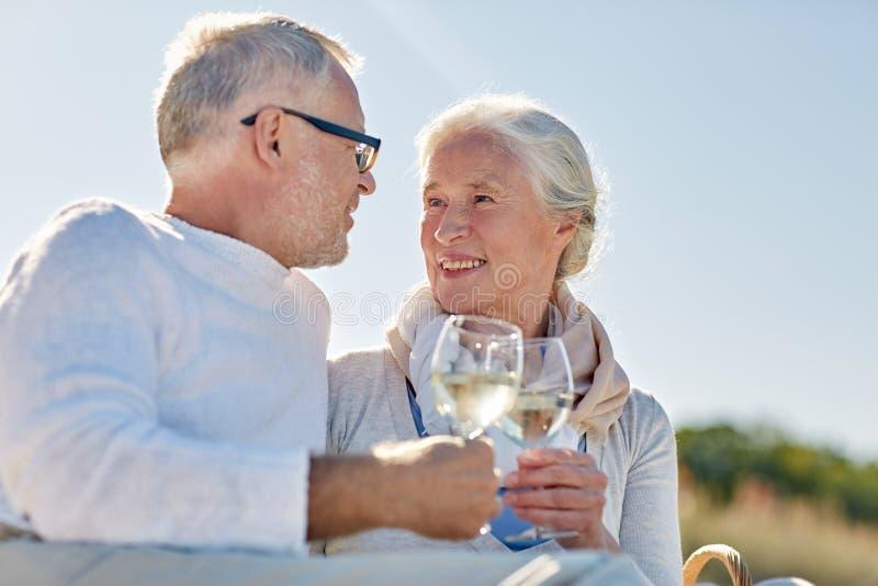 Glückliche ältere Paare, die Picknick auf Sommerstrand haben lizenzfreies stockfoto