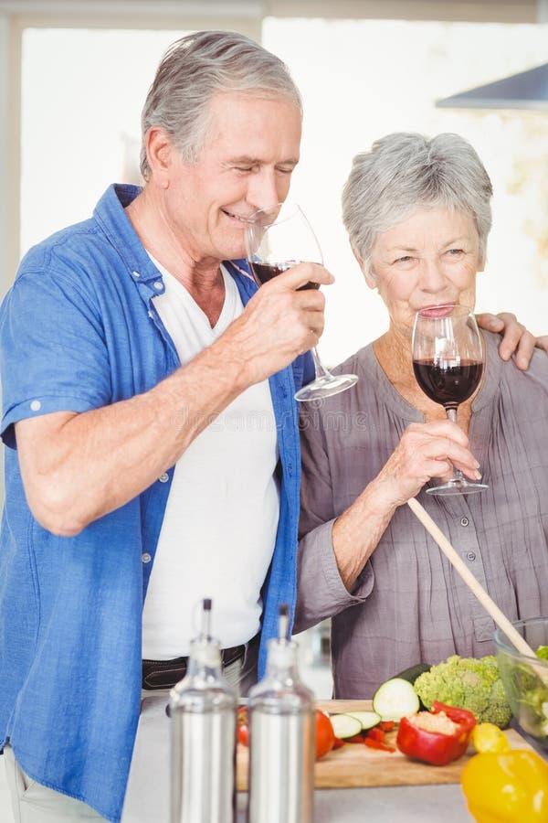 Glückliche ältere Paare, die Rotwein trinken lizenzfreies stockfoto