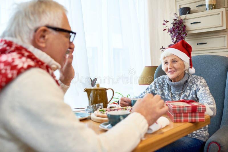 Glückliche ältere Paare, die Weihnachten feiern stockfotografie