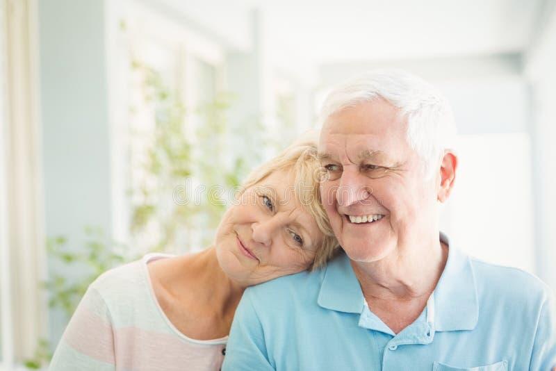 Glückliche ältere Paare, die zu Hause lächeln stockfotografie