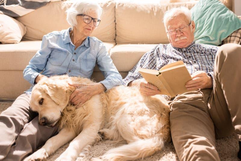 Glückliche ältere Paare im sonnenbeschienen Haus lizenzfreie stockbilder