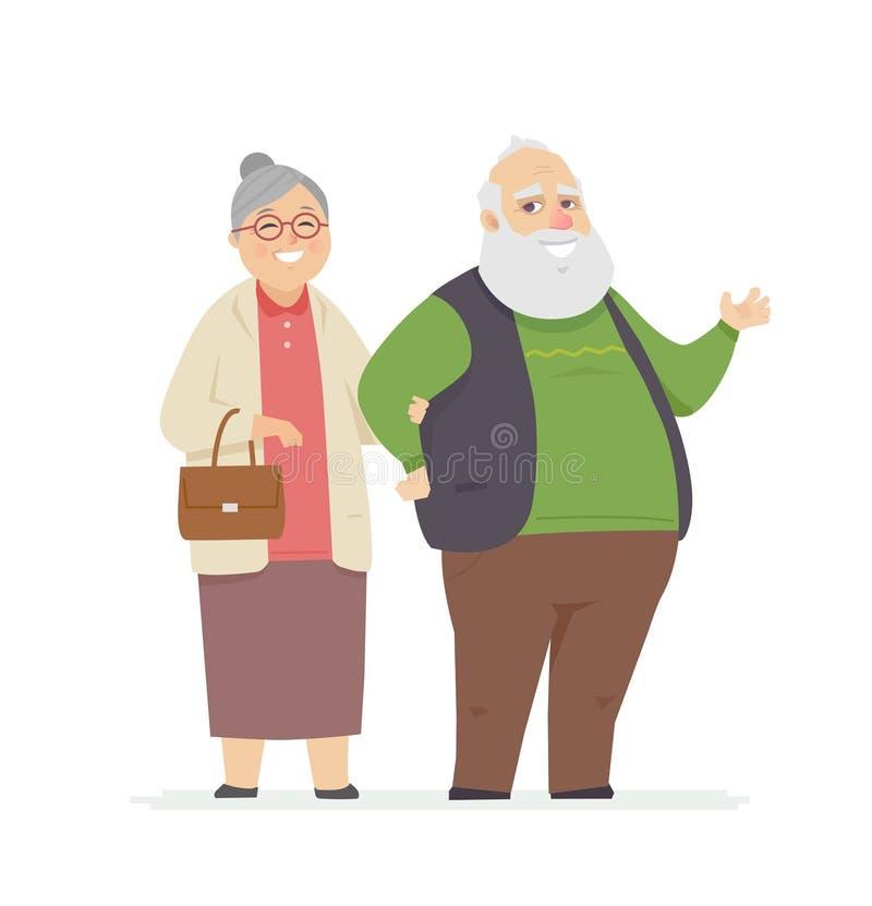 Glückliche ältere Paare - lokalisierte Illustration der Karikaturleute Charaktere vektor abbildung
