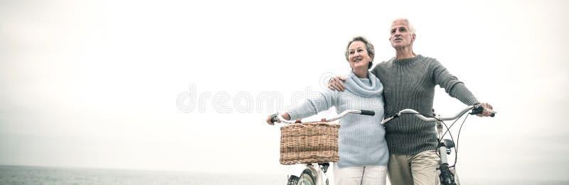 Glückliche ältere Paare mit ihrem Fahrrad lizenzfreies stockfoto