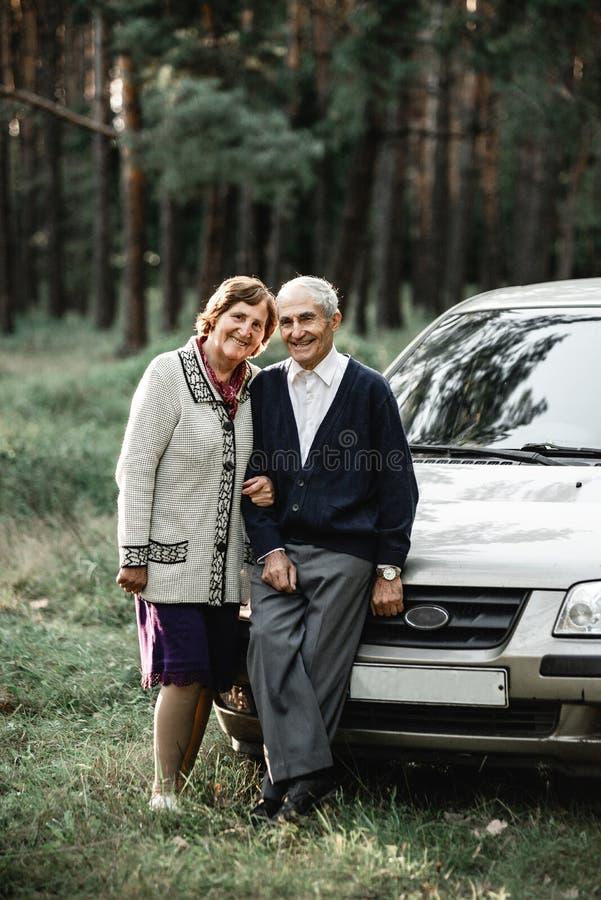 Glückliche ältere Paare mit Neuwagen lizenzfreie stockfotos