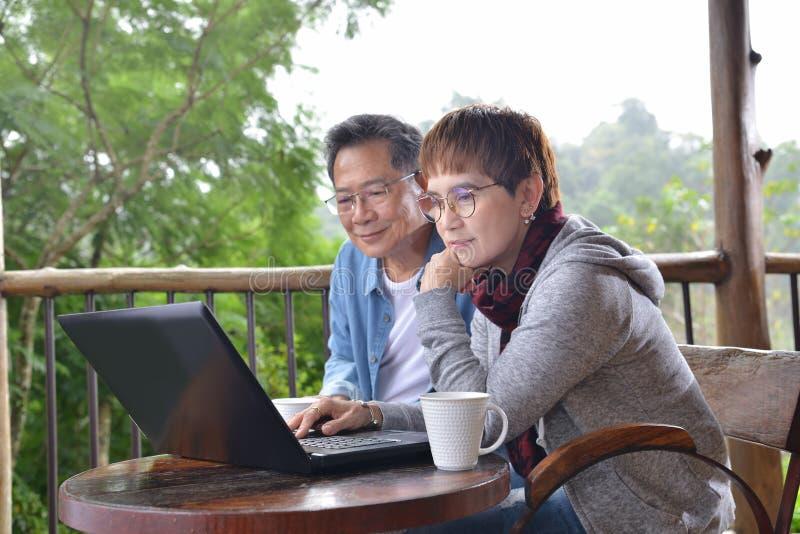 Glückliche ältere Paare unter Verwendung der Laptop-Computers zu Hause lizenzfreie stockbilder