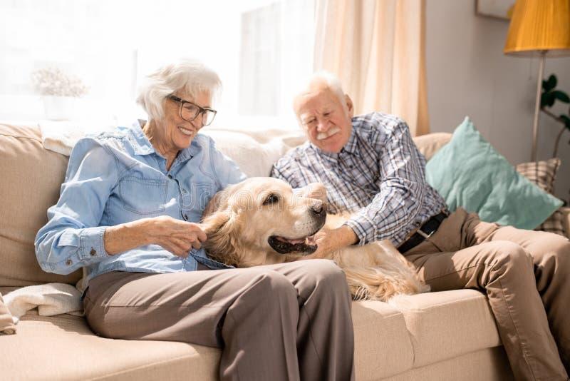 Glückliche ältere Paare zu Hause lizenzfreies stockbild