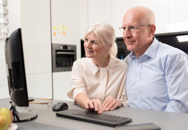 Glückliche Ältestpaare genießen zusammen am Computer stockfotografie