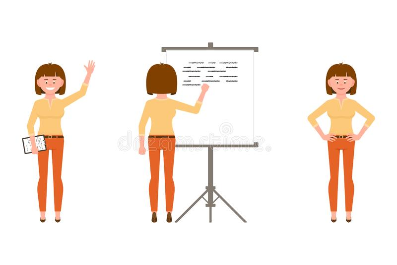 Glückliche, überzeugte Frau in der orange Hosenvektorillustration Stellung mit Anmerkungen, wellenartig bewegendes hallo, schreib lizenzfreie abbildung