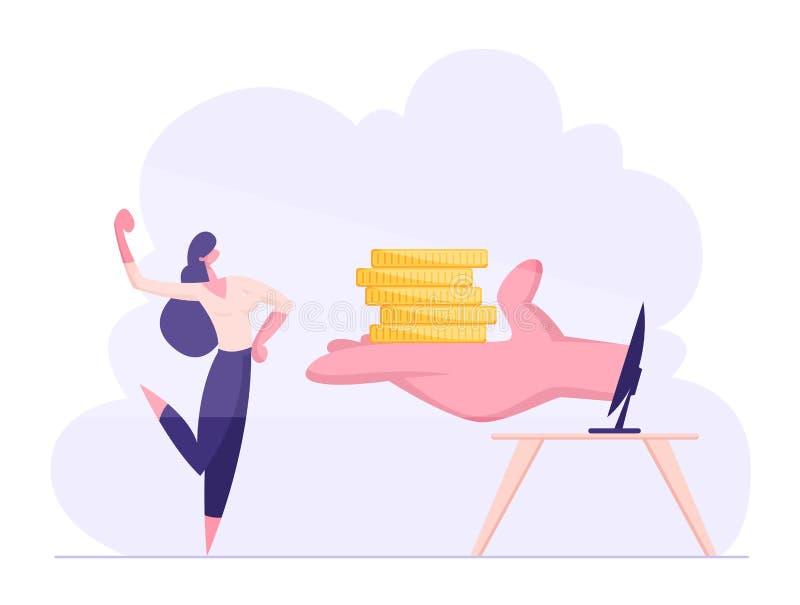 Glückliche überzeugte Geschäftsfrau demonstrieren Muskeln empfangen Geld von der Hand am Computer-Monitor Internet-Einkommen lizenzfreie abbildung