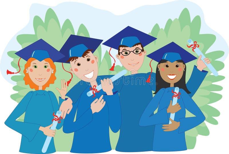 Glückliche Absolvent in den Schutzkappen und in den Kleidern mit Diplomen stock abbildung